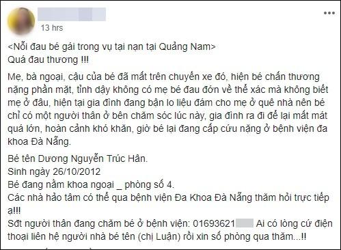 Tai nạn ở Quảng Nam: Bé gái sống sót trên xe rước dâu liên tục gọi mẹ - Ảnh 3.