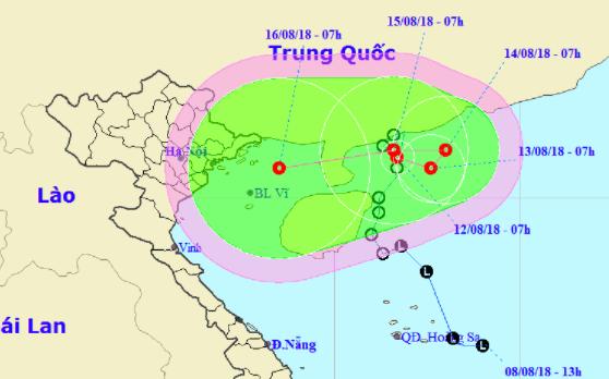 Áp thấp nhiệt đới phát triển mạnh quét ngang bờ biển Trung Quốc, tiến thẳng vào đất liền miền Bắc