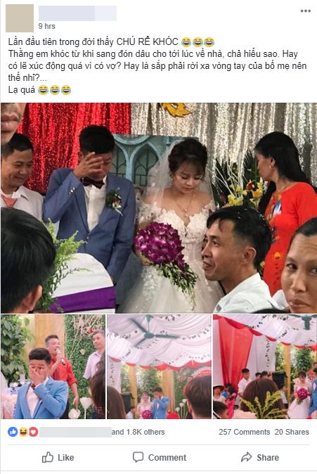 Cảm xúc đối lập của cô dâu chú rể trong ngày cưới khiến nhiều người bật cười: Chú rể xúc động rưng rưng lệ, cô dâu cười tươi như hoa - Ảnh 1.