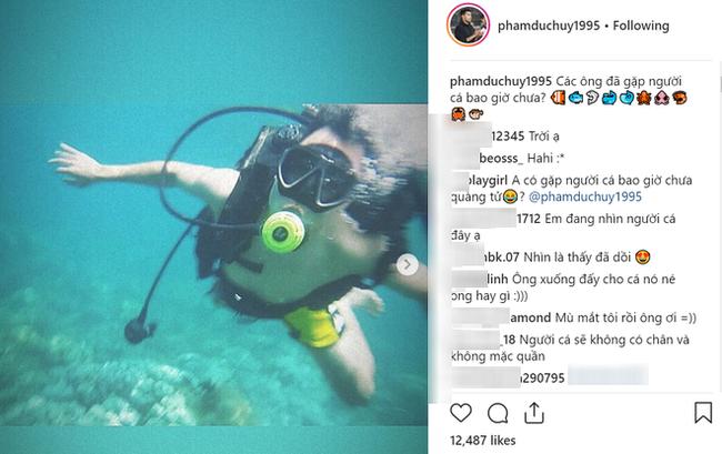 Bị một shop online tranh thủ quảng cáo trong ảnh mình đi lặn biển, Đức Huy U23 liền xéo xắt đáp trả đúng phong cách vựa muối - ảnh 1