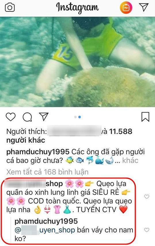 Bị một shop online tranh thủ quảng cáo trong ảnh mình đi lặn biển, Đức Huy U23 liền xéo xắt đáp trả đúng phong cách vựa muối - ảnh 2