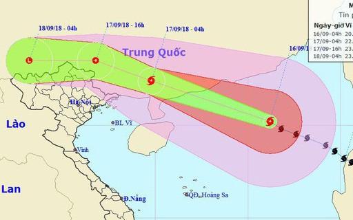Bão Mangkhut đổ bộ vào Trung Quốc suy yếu nhanh, miền Bắc Việt Nam có khả năng mưa lớn