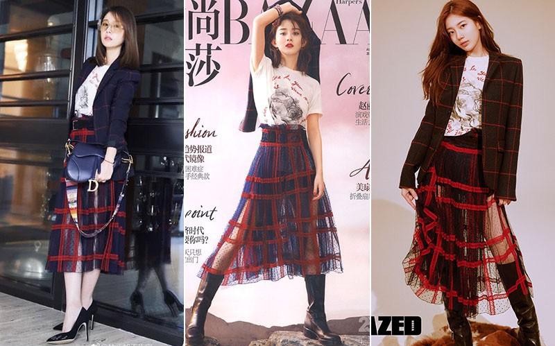 Diện nguyên set đồ cho người mẫu: Suzy, Lâm Tâm Như đẹp lung linh; Triệu Lệ Dĩnh lại khó phân định