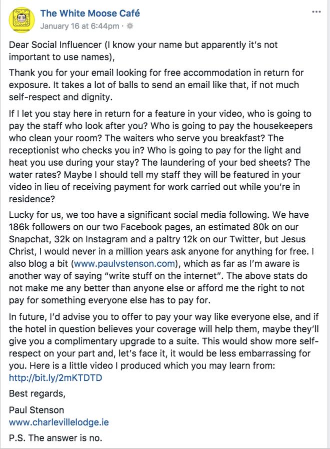 Xin ở chùa tại khách sạn sang chảnh ở Dublin, YouTuber bị chủ khách sạn dằn mặt hết sức phũ phàng - ảnh 1
