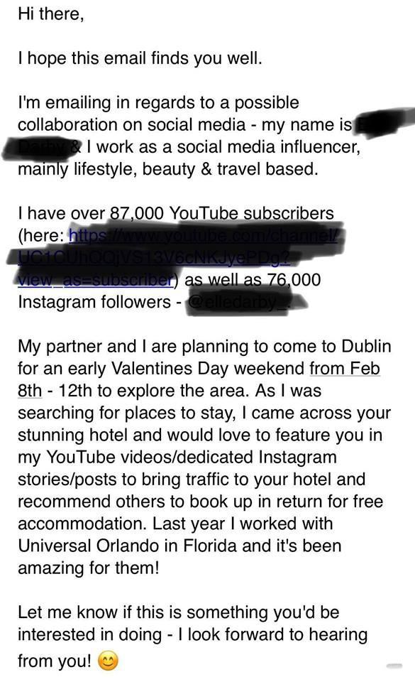 Xin ở chùa tại khách sạn sang chảnh ở Dublin, YouTuber bị chủ khách sạn dằn mặt hết sức phũ phàng - ảnh 2