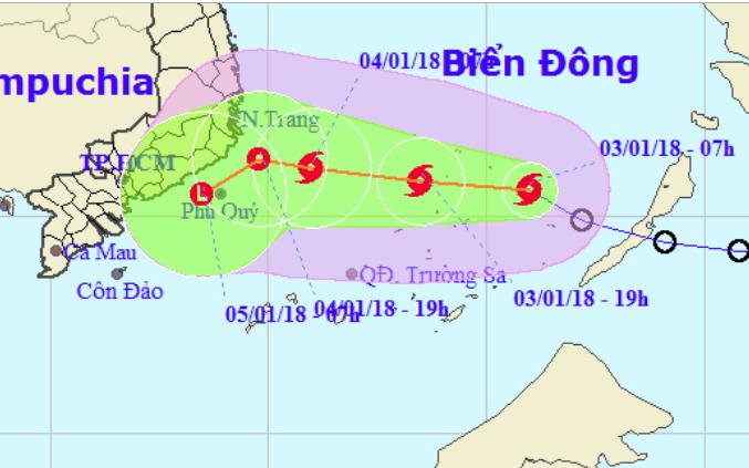 Áp thấp nhiệt đới đã mạnh lên thành bão Bolaven - Cơn bão số 1 năm 2018