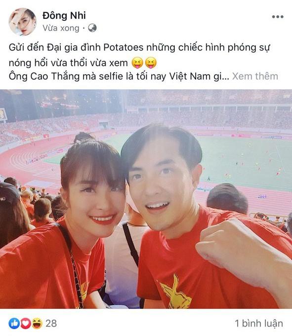 Đông Nhi - Ông Cao Thắng, Bảo Anh cùng dàn sao Vbiz vỡ oà trước siêu phẩm ngả người volley mở màn tỷ số 1-0 của Quang Hải - ảnh 2
