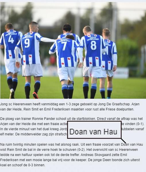 Hài hước: Trang chủ SC Heerenveen viết nhầm tên đệm của Văn Hậu theo tiếng Hà Lan - ảnh 1