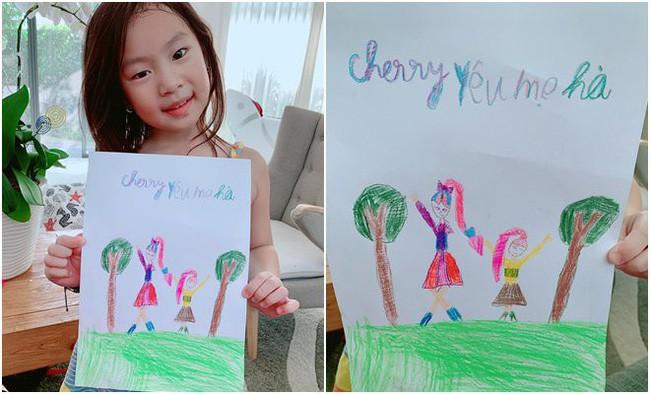 Bà xã Lý Hải dậy thì thành công trong tranh vẽ của con gái, nhưng khả năng viết chữ của Cherry cùng lời nhắn ngọt ngào mới bất ngờ - ảnh 1