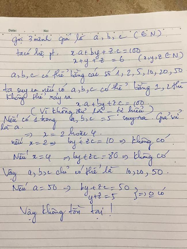 Bài toán Chọn 6 tờ tiền với 3 mệnh giá khác nhau sao cho tổng bằng 100k khiến dân mạng nát óc, nào ngờ đáp án quá đơn giản - ảnh 2
