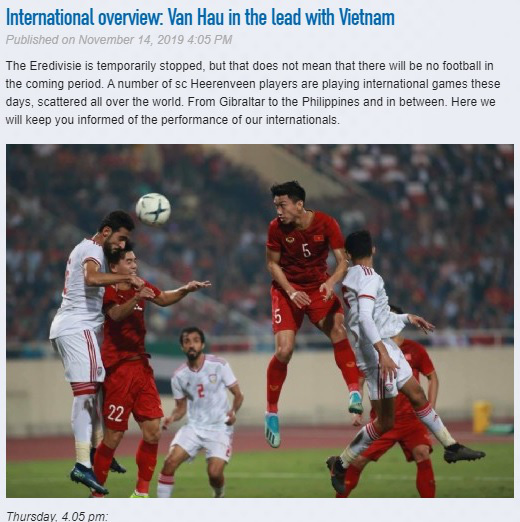 CLB Heerenveen chúc mừng Văn Hậu và Việt Nam sau thắng lợi thuyết phục trước UAE - ảnh 1