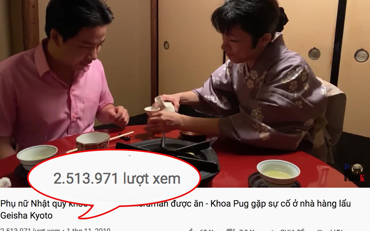 Bất chấp lùm xùm, loạt vlog ở Nhật của Khoa Pug vẫn đạt triệu view và đang tăng mạnh, cao nhất vẫn là video dính ''phốt'' thiếu tôn trọng phụ nữ