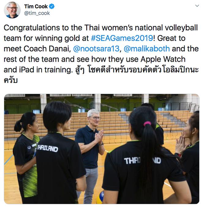 Tuyển Thái Lan được hẳn CEO Apple chúc mừng vì giành HCV SEA Games 30 nhờ... dùng Apple Watch và iPad - ảnh 1