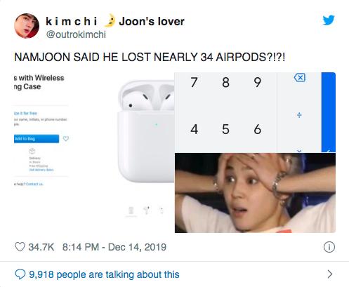 Chủ tịch RM (BTS) làm mất số lượng Airpod gây sốc và cái giá phải trả là khoản tiền mặt nghe thôi là thấy chóng cả mặt - Ảnh 4.