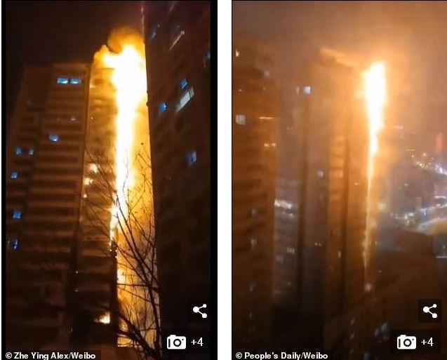 Tòa nhà 25 tầng ở Trung Quốc cháy lớn trong đêm - ảnh 3