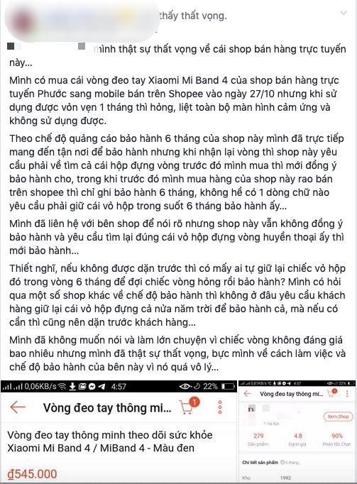 """Hà Nội: Khách hàng bức xúc vì shop yêu cầu """"tìm lại vỏ hộp"""" khi đi bảo hành vòng đeo tay thông minh bị lỗi - ảnh 1"""