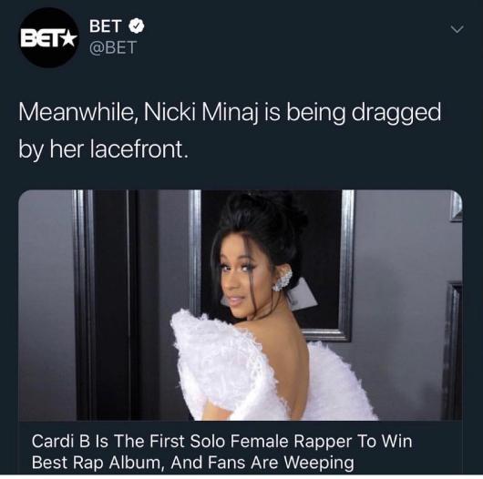 Biến căng bên lề Grammy: Nicki Minaj bị đá xéo, Cardi B bất ngờ lên tiếng bảo vệ nhưng lại lãnh hậu quả cay đắng  - Ảnh 1.