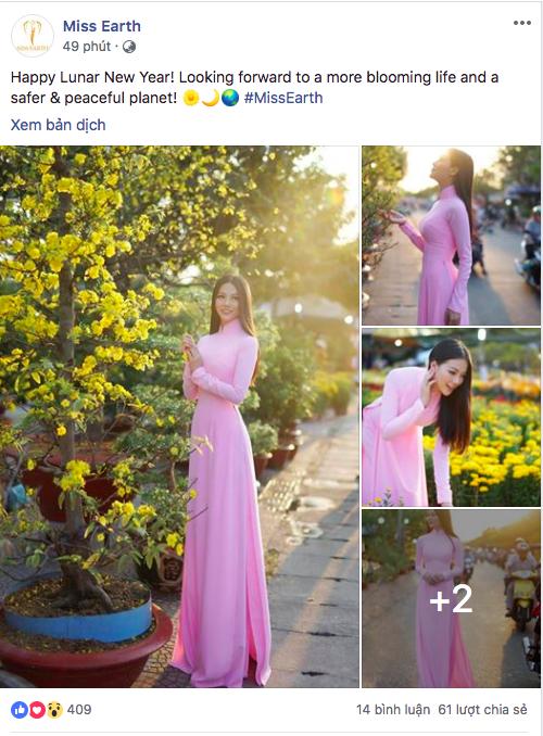 Áo dài và Tết Việt cùng Phương Khánh xuất hiện rực rỡ trên fanpage Miss Earth đúng ngày đầu năm mới - ảnh 1