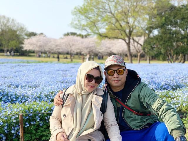 Thiên đường hoa gây sốt Nhật Bản: Hàng cây anh đào kết hợp rừng hoa mắt xanh đẹp như một giấc mơ - Ảnh 2.