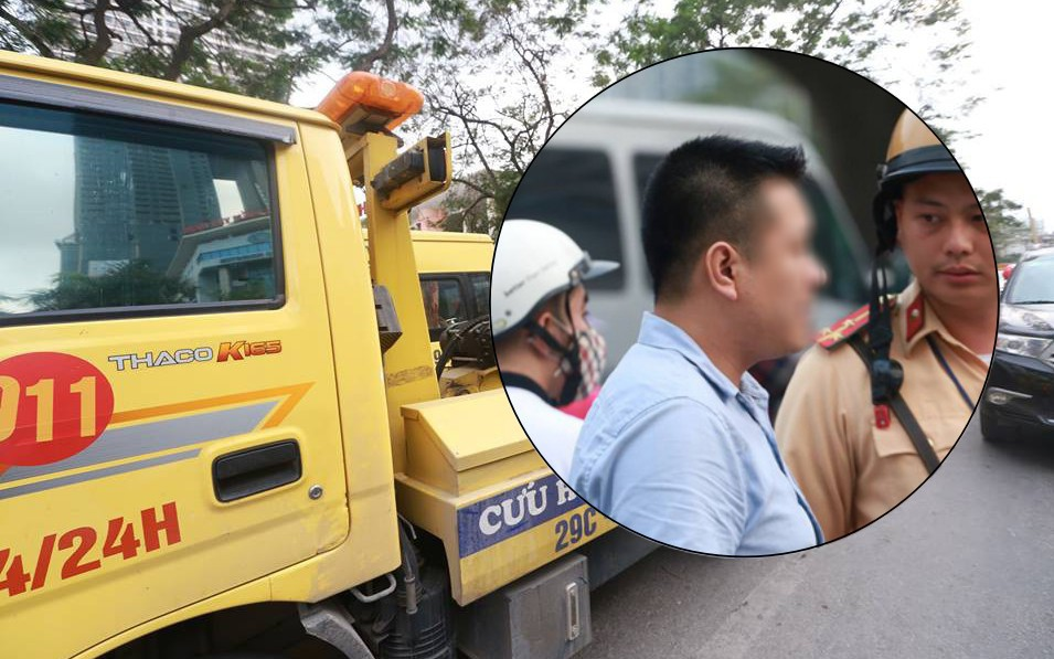 Hà Nội: Tài xế dừng đèn đỏ rồi ngủ quên trong ô tô nửa tiếng, CSGT phải đến cẩu cả xe cả người đi