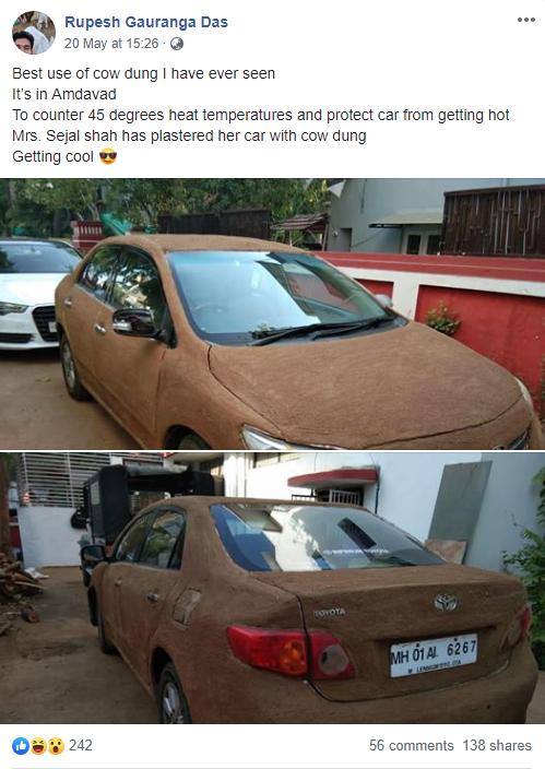 Internet Ấn Độ xôn xao vì chiếc xe nghi bọc phân bò để làm mát - ảnh 1