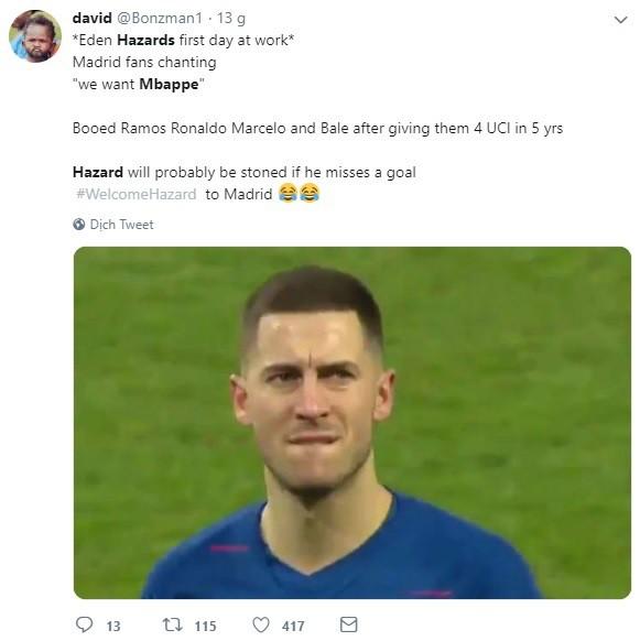 Có Eden Hazard nhưng vẫn muốn Mbappe, CĐV Real Madrid bị cả cộng đồng bóng đá mạt sát - ảnh 1