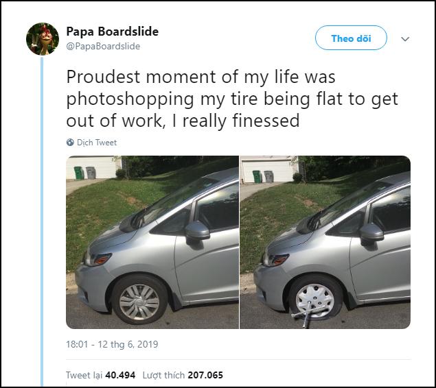 Cuối tuần trốn việc mưu mẹo như thần: Photoshop xe hỏng troll sếp, hết luôn động lực đi làm - Ảnh 1.