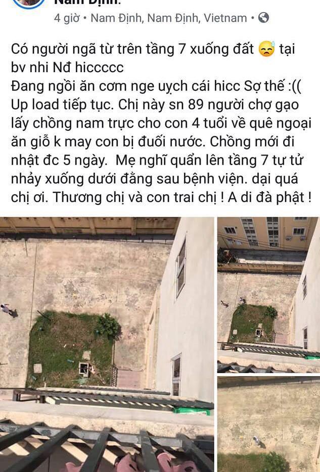 Mẹ nhảy lầu tự tử khi đưa con 4 tuổi đuối nước vào bệnh viện Nhi Nam Định cấp cứu - ảnh 1