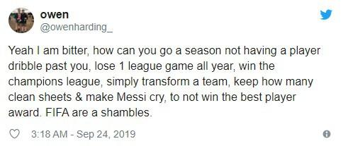 Người hâm mộ bức xúc, tin Messi không xứng đáng với danh hiệu Cầu thủ xuất sắc nhất năm 2019 - ảnh 5