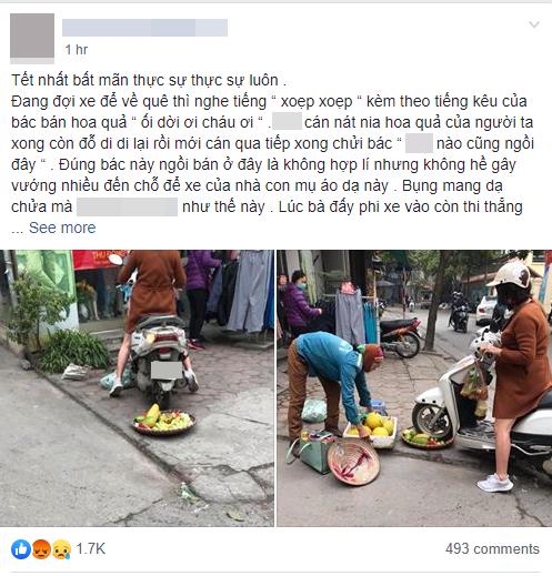 Phẫn nộ hình ảnh người phụ nữ mang bầu lái xe máy cán thẳng qua nia trái cây của cô bán hàng rong ven đường vì ngồi chắn trước cửa hàng - ảnh 1