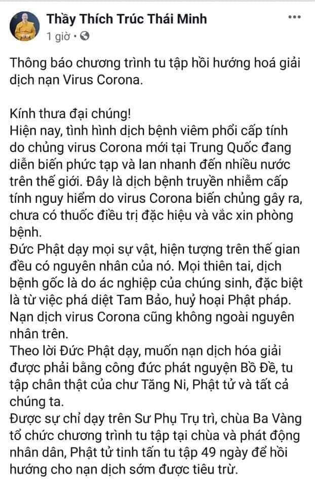 Trụ trì chùa Ba Vàng tổ chức hóa giải virus corona đã bị xử lý - ảnh 2