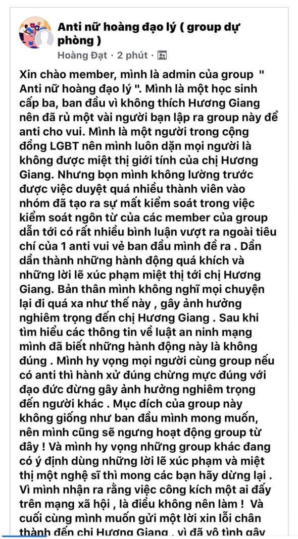Admin group anti Hương Giang chính thức lên tiếng, gửi lời xin lỗi chân thành và tuyên bố sẽ đóng group - Ảnh 3.