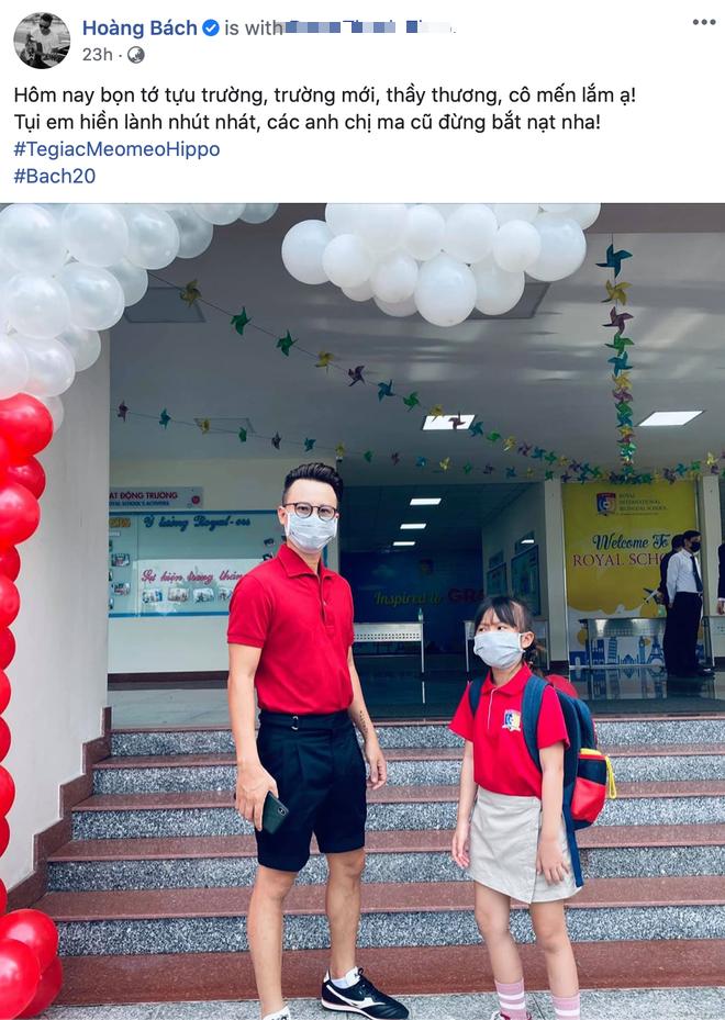 Sao Việt ngày đầu cho con nhập học: Lâm Vỹ Dạ cẩn thận chuẩn bị khẩu trang phòng dịch, Hoàng Bách tự so sánh sự trẻ trung của mình với... con gái - Ảnh 10.