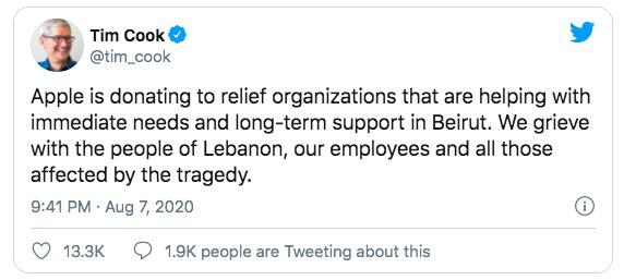 CEO Tim Cook thông báo Apple sẽ ủng hộ Beirut sau vụ nổ thảm khốc, số tiền không được tiết lộ - Ảnh 4.