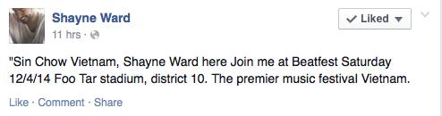 Fan thích thú vì Shayne Ward sẽ đến Việt Nam vào ngày 12/4 1