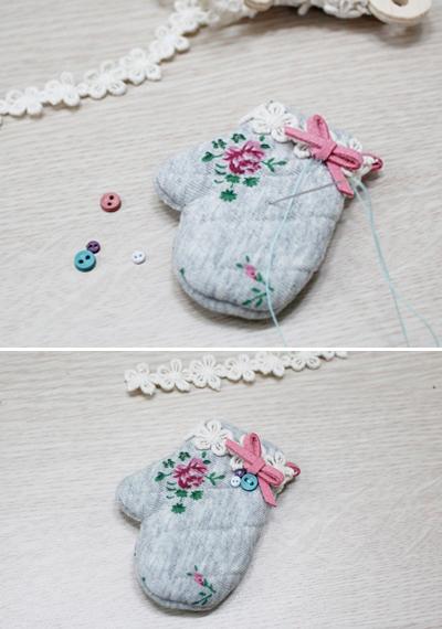 Xinh xinh móc khóa đôi găng tay mini 5