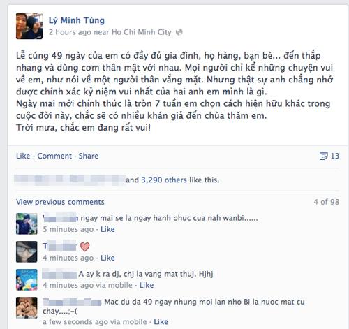 Facebook lắng đọng trước 49 ngày Wanbi Tuấn Anh 4