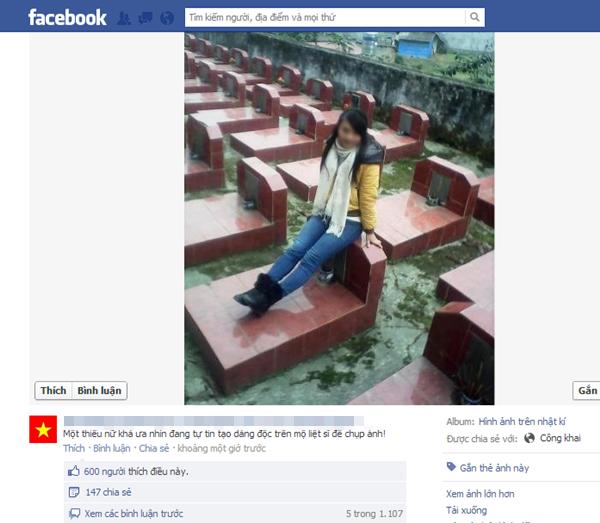 Thiếu nữ ngồi trên mộ liệt sĩ post ảnh hối lỗi lên facebook 1
