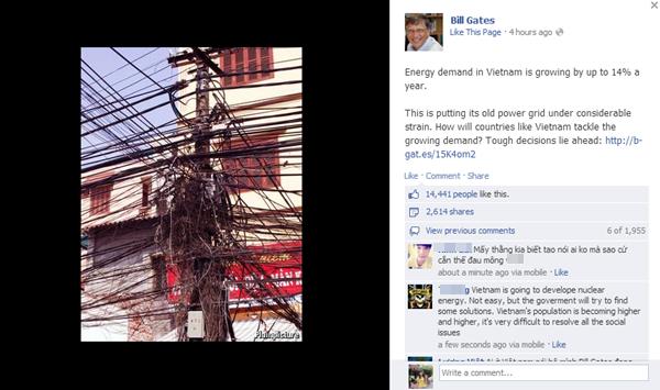Tỷ phú Bill Gates đăng hình ảnh lưới điện chằng chịt của Việt Nam lên FB 1