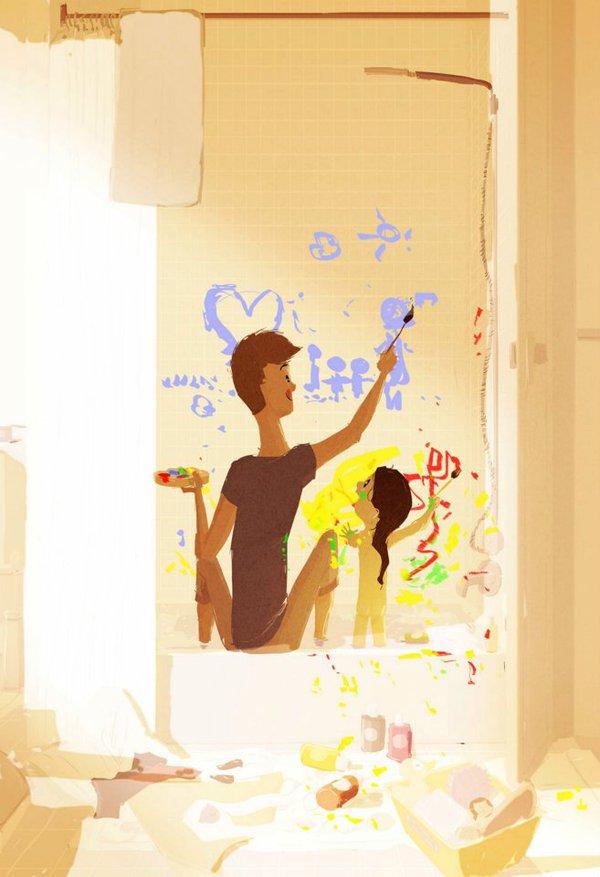 Thông điệp cảm động về gia đình qua tranh vẽ 11