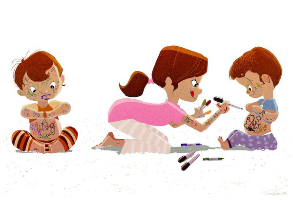 Thông điệp cảm động về gia đình qua tranh vẽ 8
