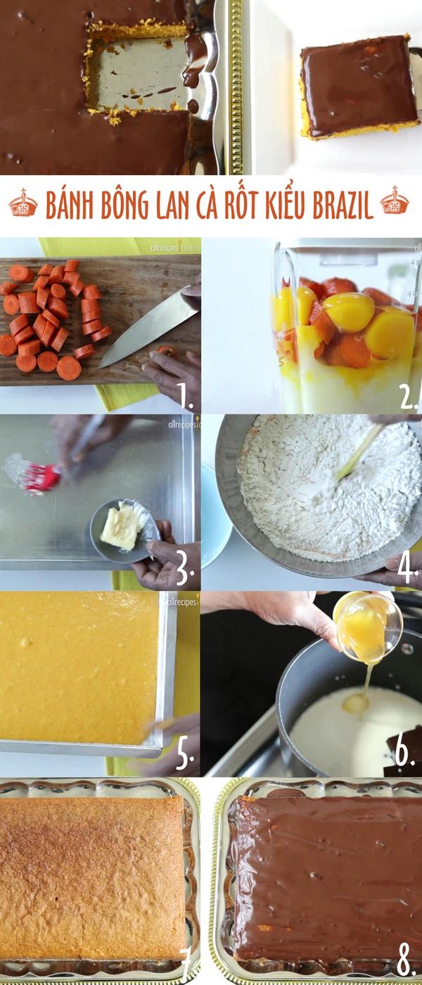 Bánh bông lan phủ sốt chocolate theo công thức từ Brazil 1