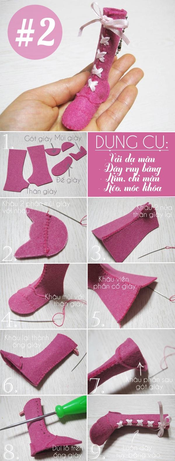 3 cách làm móc khóa hình chiếc giày đáng yêu 2