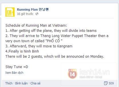 Sốt vì lịch trình Running Man ghi hình ở Việt Nam 1