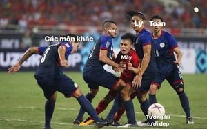 Bức ảnh Quang Hải bị 4 cầu thủ Philippines chèn ép trở thành cảm hứng chế hot nhất của học sinh, sinh viên đêm nay!
