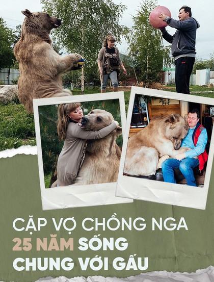 Chăm sóc như con ruột, cặp vợ chồng Nga đã chung sống với chú gấu mồ côi suốt 25 năm