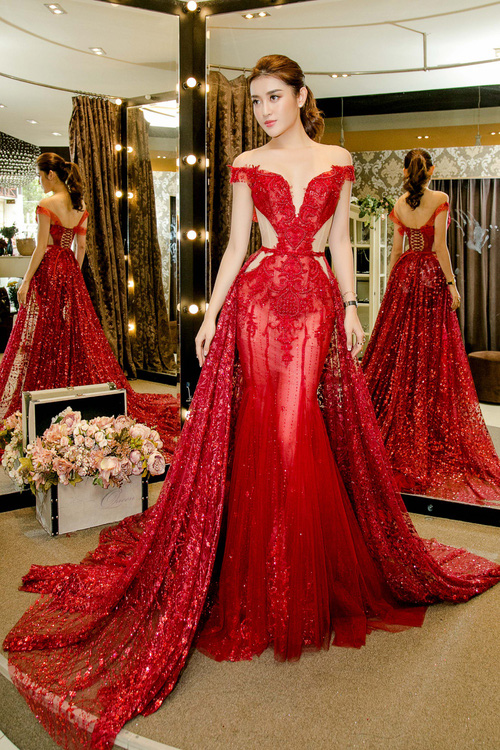 Huyền My xinh đẹp, lộng lẫy như công chúa trong buổi thử váy dạ hội, áo dài cho Miss Grand Internation 2017 - Ảnh 4.
