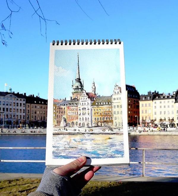 Khám phá cảnh đẹp thế giới qua bộ sưu tập tranh màu nước lung linh - Ảnh 8.