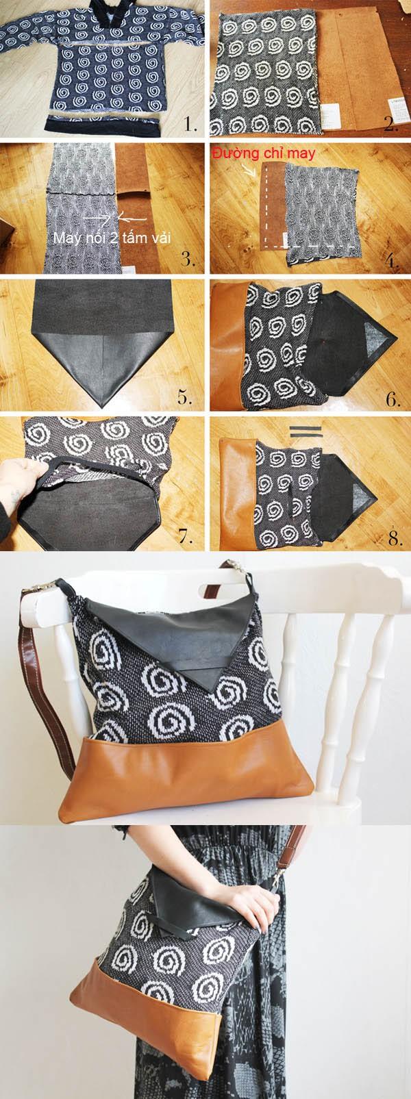 Túi xách tiện dụng được chế từ đồ cũ 1