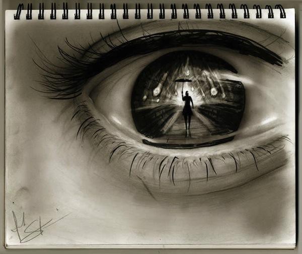 Tranh vẽ mắt ám ảnh, người 2 mặt 3